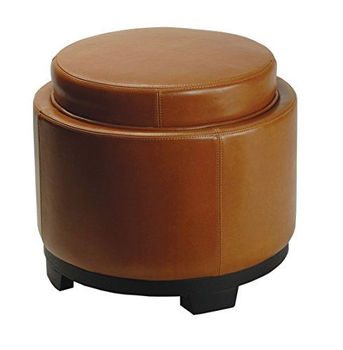 Safavieh Hudson Collection Chloe Leather Single Tray Round Storage Ottoman, Saddle