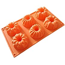 Allforhome 6 Lily Gollum Pumpkin Silicone Cake Baking Mold Cake Pan Muffin Cups Handmade Soap Moulds Biscuit Chocolate Ice Cube Tray DIY Mold