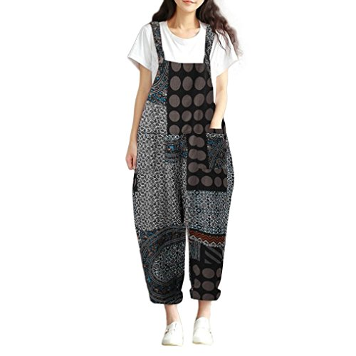 iYYVV Cargo Women Plaid Dot Printed Boho Loose Bib Pants Dungarees Overalls Jumpsuit