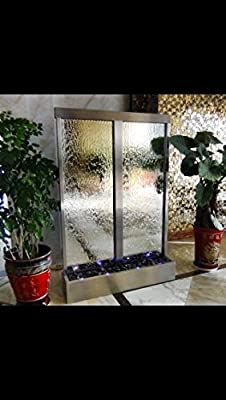 """72"""" X 48"""" Standing Waterfall, Twin Mirror Panels ,Stainless Steel Frame by JERSEY HOME DECOR"""