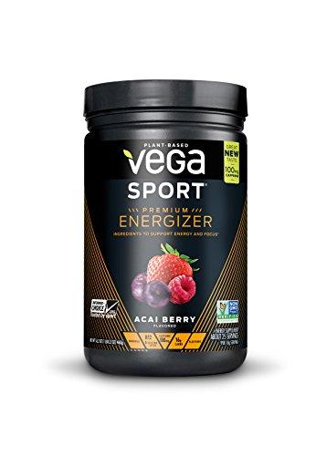 New Vega Sport Premium Energizer Acai Berry (25 Servings, 16.2oz) - Vegan,  Gluten Free, All Natural, Pre Workout Powder, Non GMO