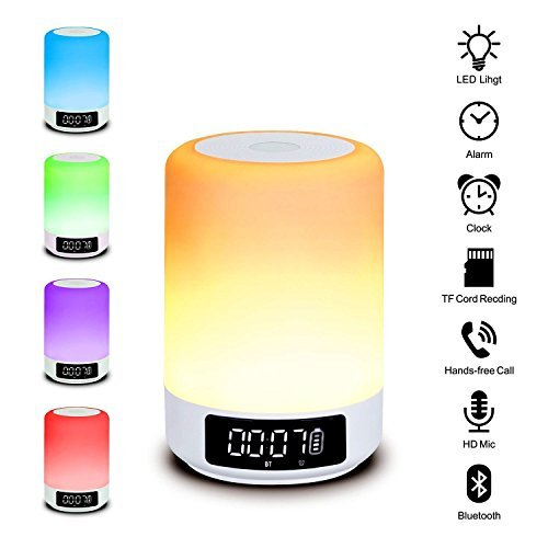Bluetooth Speaker Lamp, Imbeang Color Changing Lamp Bedside Lamp Touch Control Lamp RGB & LED Kids Night Light Mode, Music Mood Light Table Lamp, Timer, TF Card Music Play, Sleep (Clock Timer Control)