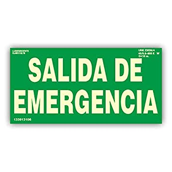 PACK 5 CARTEL PVC LUMINISCENTE SEÑALIZACION AVISO SALIDA DE ...