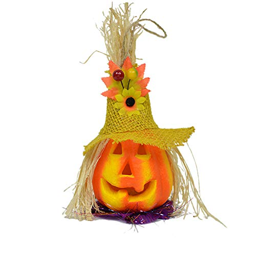 Transer- Pumpkin Lantern, Halloween LED Light Props Horror Ghosts Lamp Toy Battery Operated Home Decoration Ornamentation Gift Kids (Yellow)]()
