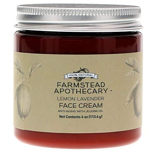 Farmstead Apothecary 100% Natural Anti-Aging Face Cream with Jojoba Oil, Lemon Lavender 4 oz