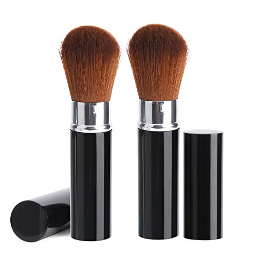 (2 Pack Professional Kabuki Blush Brush, Soft Oval Foundation Brush Retractable Makeup Brushes Travel Kit Beauty Tool with Soft Synthetic Bristles for Face Cosmetic Contour Mineral Powder Concealer)