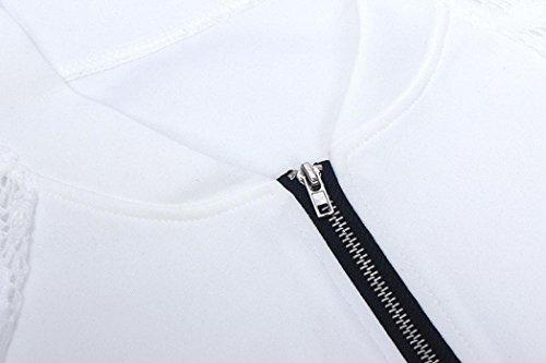 XUANOU Womens Long Sleeve Lace Blazer Suit Casual Jacket Coat Outwear (Large, White) by XUANOU (Image #5)