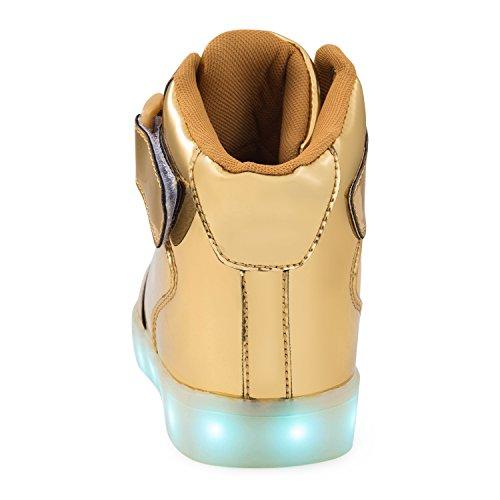 SAGUARO Leuchtende Kinderschuhe 7 Farben LED Schuhe USB Aufladen Leuchtschuhe Mädchen Jungen Blinkschuhe Licht Sportschuhe Turnschuhe Sneaker C-High-top-Gold