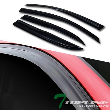 Topline Autopart Smoke Window Visors Deflector Vent Shade Guard 4 Pieces For 05-09 Chevy Equinox ; 06-09 Pontiac Torrent