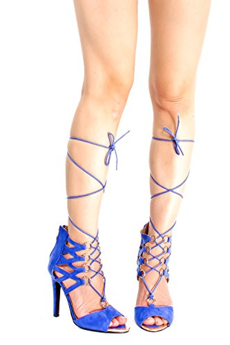 Marilyn Moda Suede Open Toe Lace Up Design Ritaglio Posteriore Cerniera Stiletto Tacchi Blu