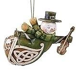"4"" Woodcut Green Irish Snowman with Violin Christmas Ornament"