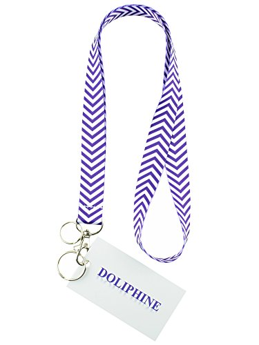 vron Necklace Keychain Lanyard with Two Keyring and Lobster Hook for Key / ID Holder/ USB (Purple) (Polyester Lanyard)