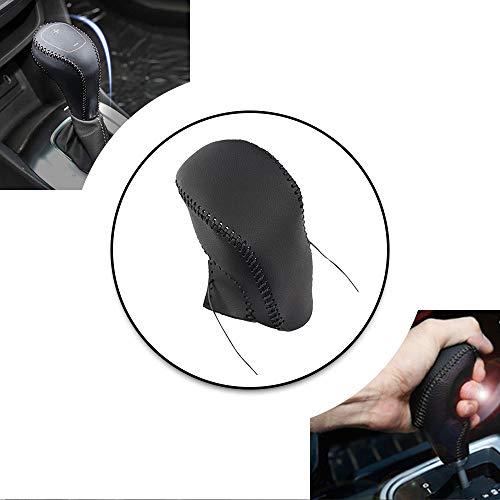 Non-slip Black Genuine Leather Gear Shift Knob Cover For Buick ENCORE 2013-2015 Shift Lever Protector Trim Black Thread E Type