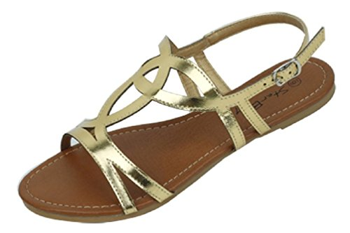 Shoes 18 Womens Strappy Roman Gladiator Sandals Flats Thongs Shoes (5, Gold 2226)
