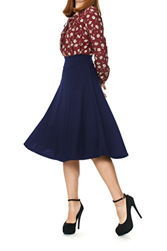 Dani's Choice Stretch High Waist A-line Flared Long Midi Skirt