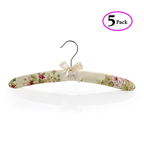 TBMax TP-05 Thick Flowery Satin Non-Slip Padded Hangers, Calico Closet Hangers, Soft Satin Strong Wooden Skeleton Inside, No Scratch and Perfectly Protect Clothes,Coats,Dress etc, Set of 5
