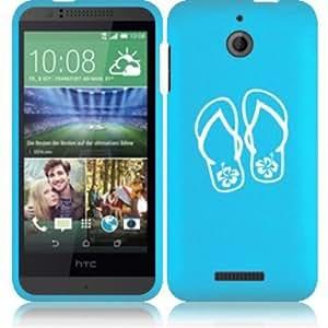 HTC Desire 510 Snap On 2 Piece Rubber Hard Case Cover Flip Flops Hibiscus (Light Blue)