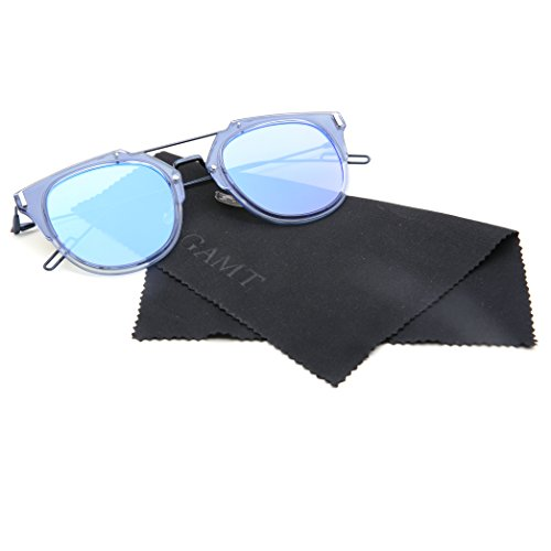 GAMT Vintage Tablet Sunglasses Flat Reflective Mirror Half Frame Sunglasses UV400 (Silver Blue, - Best Shopping Online Sunglasses