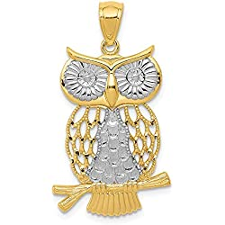 14k Yellow Gold Moveable Owl Pendant Charm Necklace Bird Fine Jewelry Gifts For Women For Her