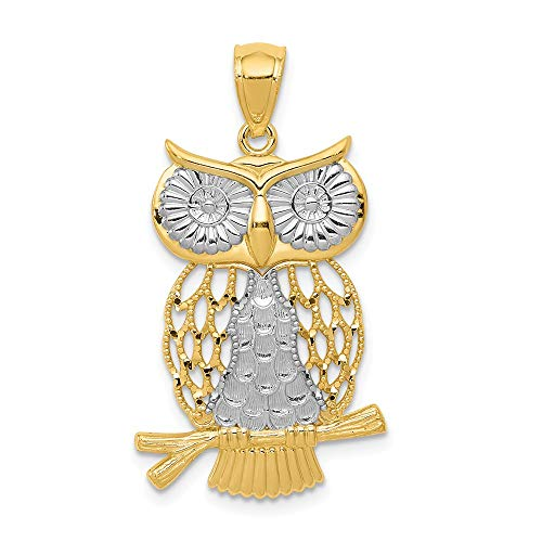- 14k Yellow Gold Moveable Owl Pendant Charm Necklace Bird Fine Jewelry Gifts For Women For Her