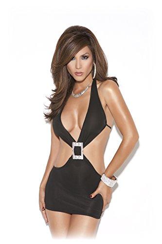 Sexy Women's Deep V Slim Fit Clubwear Mini Dress With Rhinestone (Sexy Clubwear Rhinestone Mini)