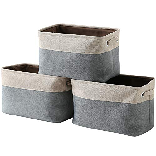 - HOKEMP Large Foldable Storage Bins [3-Pack] - 15 x 10.6 x 10 in Fabric Storage Basket Collapsible Durable Organizer Bin with Carry Handles for Nursery, Home Closet, Toys, Towels, Laundry -Beige & Gray