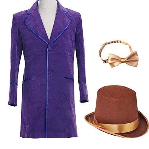 Adult Kids Purple Jacket Coat Willy Wonka Cosplay Costume Hat Bow Tie Halloween (Custom Made) -