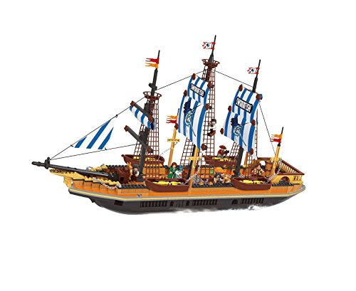 BRICK-LAND Seafaring Pirate Ship Toys Bricks Great Construction Set for Teens Boys/Girls/Adults, Team Individual Building or as a Family Educational (Girls Pirate Ship)