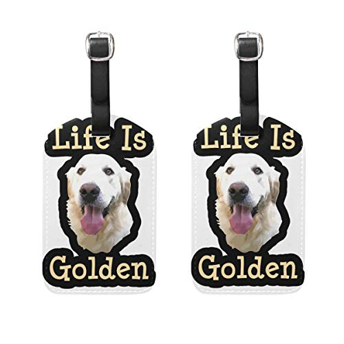 Leather Luggage Tags, Golden Retriever Dog (67) Bag Tags for Travel Bag Suitcase, 2 Pieces Privacy Cover