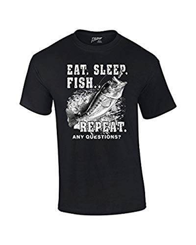 Fishing T-Shirt Eat Sleep Fish Repeat-Black-Large ()