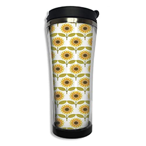 Travel Coffee Mug 3D Printed Portable Vacuum Cup,Insulated Tea Cup Water Bottle Tumblers for Drinking with Lid 8.45 OZ(250 ml)by,Sunflower Decor,Sunflowers Pattern Autumn Country Style Decorating Retr