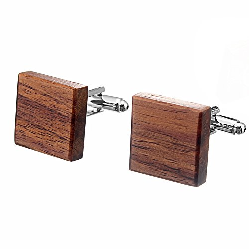 Salutto Men's Natural Wood Cufflink Square Cufflinks with Gift Box ()