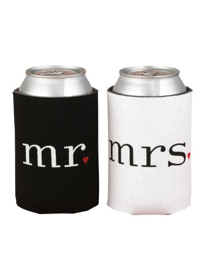 SPRINGROSE Wedding Accessories Mr. and Mrs. Can Coolers Gift Set. These Are The Perfect Present For Newlyweds Or For An Anniversary Couple. (Wed Set)