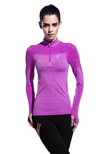HonourSport Women's Half Zip Running Sweatshirt With Thumb Holes