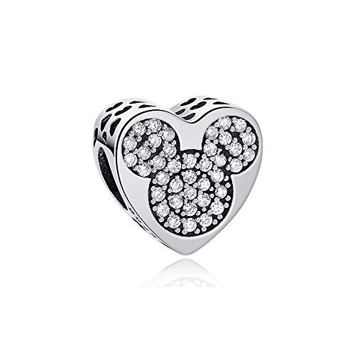 MIADEAL Mickey Mouse Charm Bead, Sterling Silver, Pandora ()