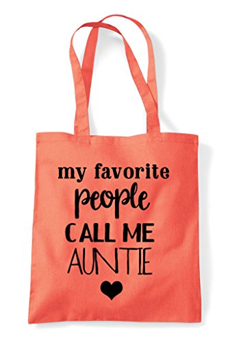 Coral Me Tote My Auntie Statement Favourite People Shopper Bag Call Family StZZw0vqx