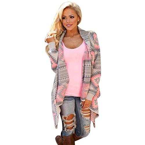 Boyasing Frauen Geometrische Gedruckt Lange Ärmel Baumwolle Kimono Strickjacke Mantel Vertuschen Tops (M)