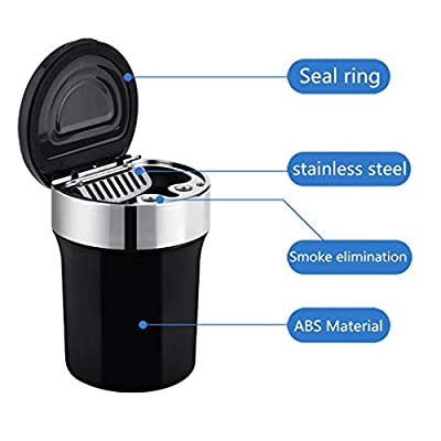 Auto Car Ashtray Portable with Blue LED Light Lighter Ashtray Smokeless Smoking Stand Cylinder Cup Holder (Silver-Black): Home & Kitchen