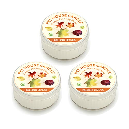 One Fur All Pet House Mini Candle Set, Pack of 3 - Falling Leaves - Pet Odor Eliminator Candle, Burn Time - 10-12 Hours Pet Candle, Non-Toxic, Allergen-Free & Ideal for Smaller Spaces