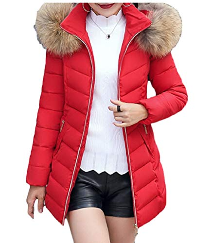 Down Fur Puffer Red security Long Warm Womens Coat Overcoats Hooded Faux SwEx8gqT