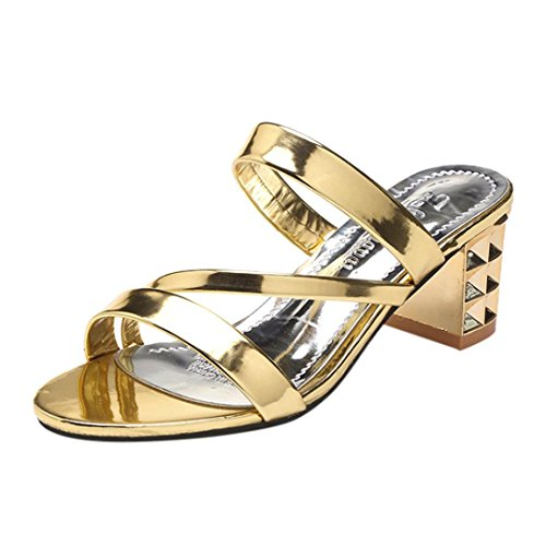 Colorful TM Fashion Summer Women Ladies Ankle High Heels Sandals Party Slippers Shoes Gold qbVnR9abM