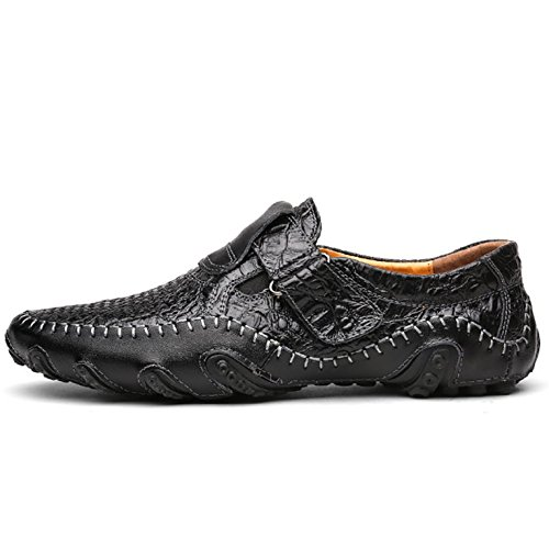 Odema Hombres De Cuero Slip-On Comfort Soft Flats Mocasines Zapatos Casual 8899-1black