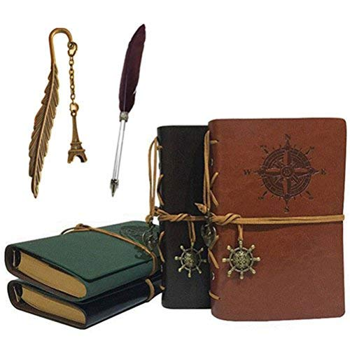 Vintage Retro Leather Cover Journal Jotter Diary Notebook Bonus Feather Pen Metal Bookmark Classic Embossed Travel Journal Diary Pendants - Price Xes (dark brown + feather pen + bookmark)