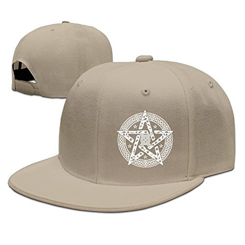 ZhiqianDF Men Wiccan Celtic Knot Pentagram With Floral Pattern Classic Jogging Natural Cap Adjustable Snapback (Boston Celtics Classics Flat)