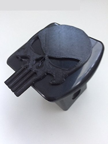 Punisher Skull in 3d - Black with BLACK - 2 inch Trailer Hitch Cover - Skeleton ()
