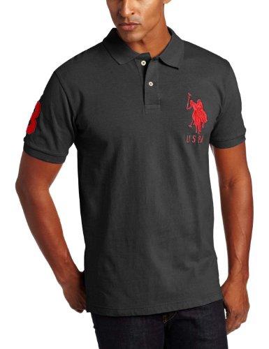 Big Pony Rugby Shirt (U.S. Polo Assn. Men's Big & Tall Big Pony Polo Shirt-Gray/Red-2XB)