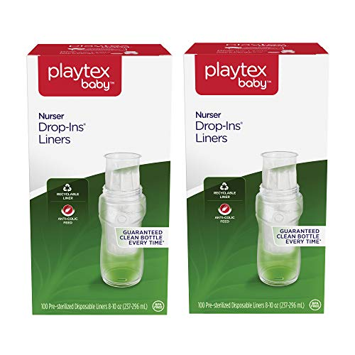 - Playtex Baby Nurser Drop-Ins Baby Bottle Disposable Liners, Closer to Breastfeeding, 8 oz, 200 Count