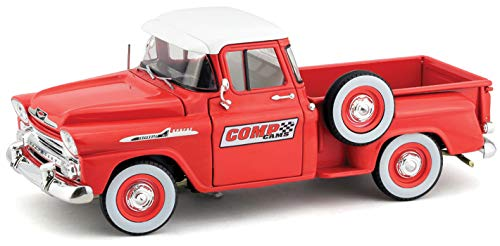 1958 Chevrolet Apache Stepside Pickup Truck Comp Cams Red with White Top Limited Edition to 5,880 Pieces Worldwide 1/24 Diecast Model Car by M2 Machines 40300-63 B - Cam Pickup