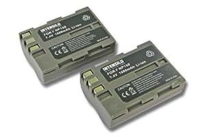 INTENSILO 2x Li-Ion batería 1600mAh (7.4V) para cámara de video, videocámara Fuji Fujifilm FinePix S5 Pro por Fuji NP-150.