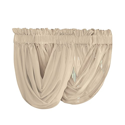 Collections Etc Scoop Two-Piece Rod Pocket Solid-Colored Sheer Valances for Windows, Decorative Accent and Added Privacy for Any Room in Home, Taupe